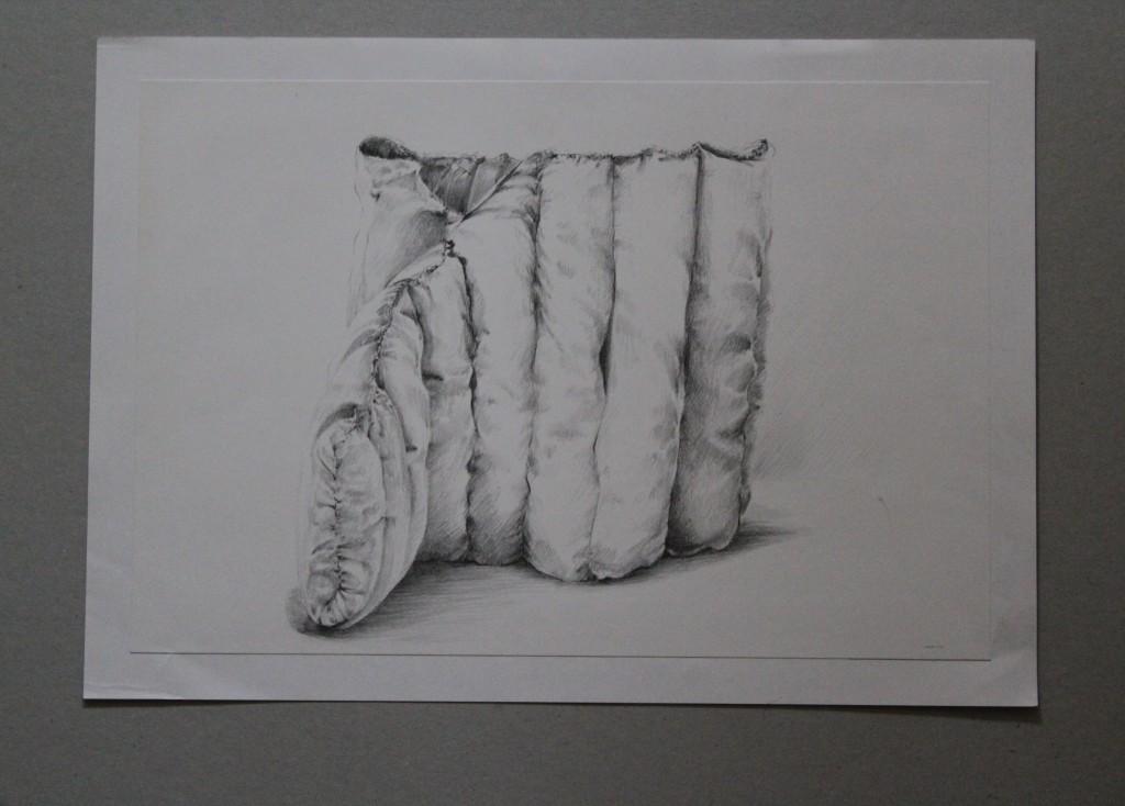 Stoffgebilde, Bleistift auf Papier, Anfang 80-er Jahre, 27,5 x 25,5