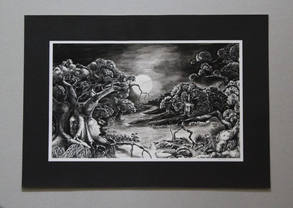 surreale Landschaft, Feder/Tusche, Gouache auf Papier, Anfang 80-er Jahre, 33 x 20