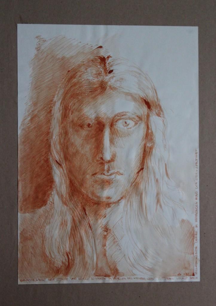 Selbst, Feder/Sepia auf Papier, 1981, 30 x 42