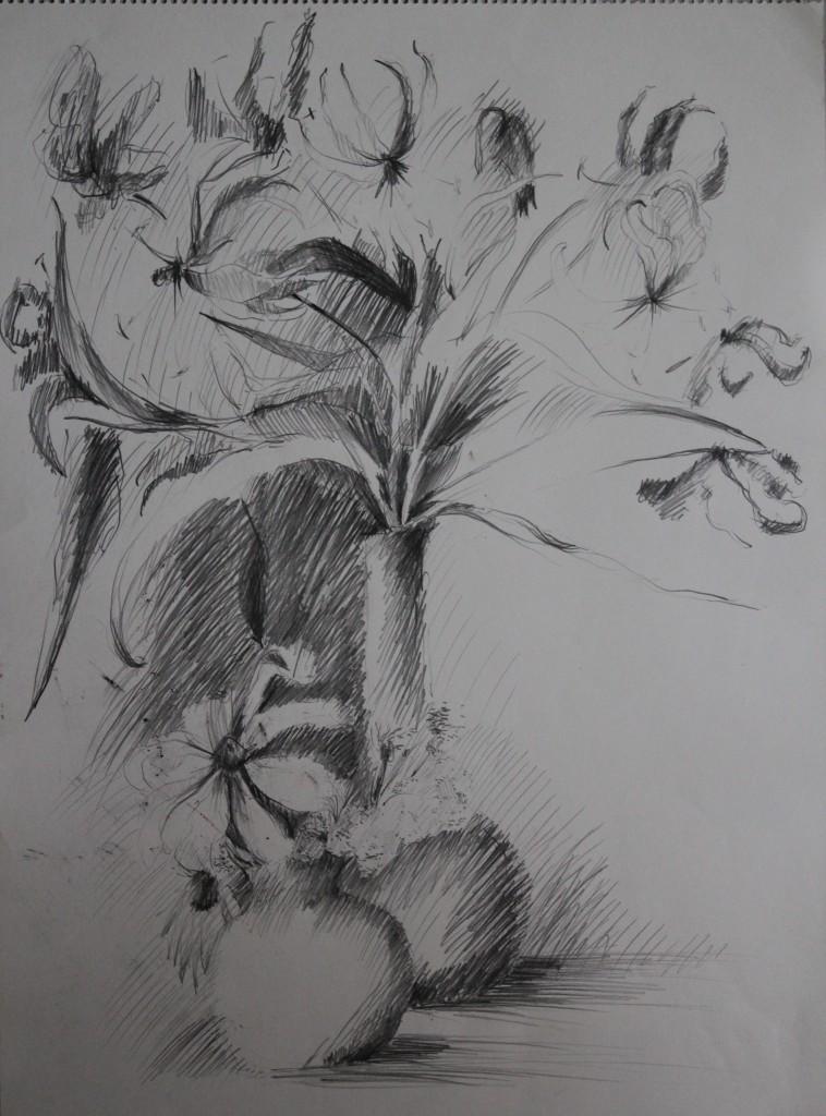 Blumenstillleben, Bleistift auf Papier, Anfang 80-er Jahre, 42 x 56