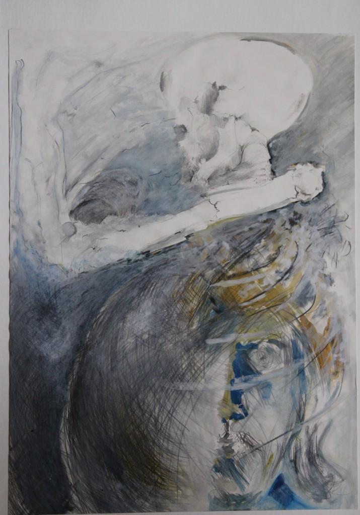Skelett, Bleistift, Gouache auf Papier, Anfang 80-er Jahre, 38 x 52
