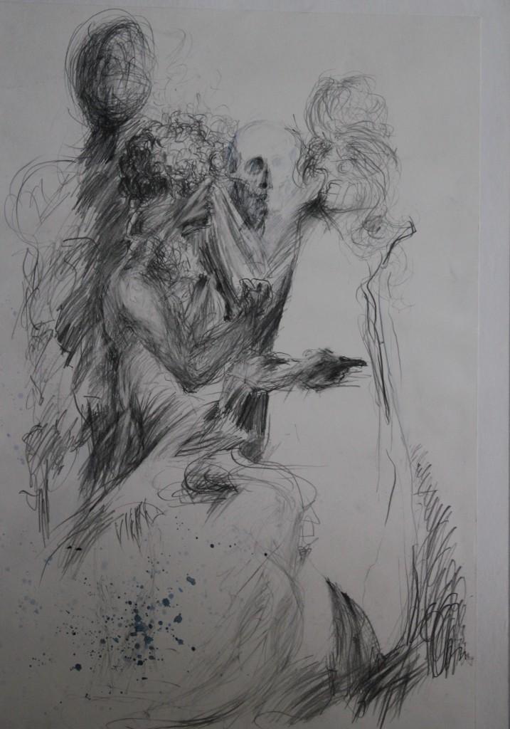 Ritter, Tod und Teufel, Bleistift auf Papier, Anfang 80-er Jahre, 37 x 55