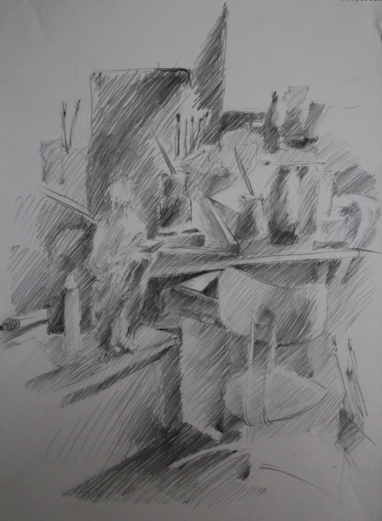 Interieur, Bleistift auf Papier, Anfang 80-er Jahre, 42 x 56