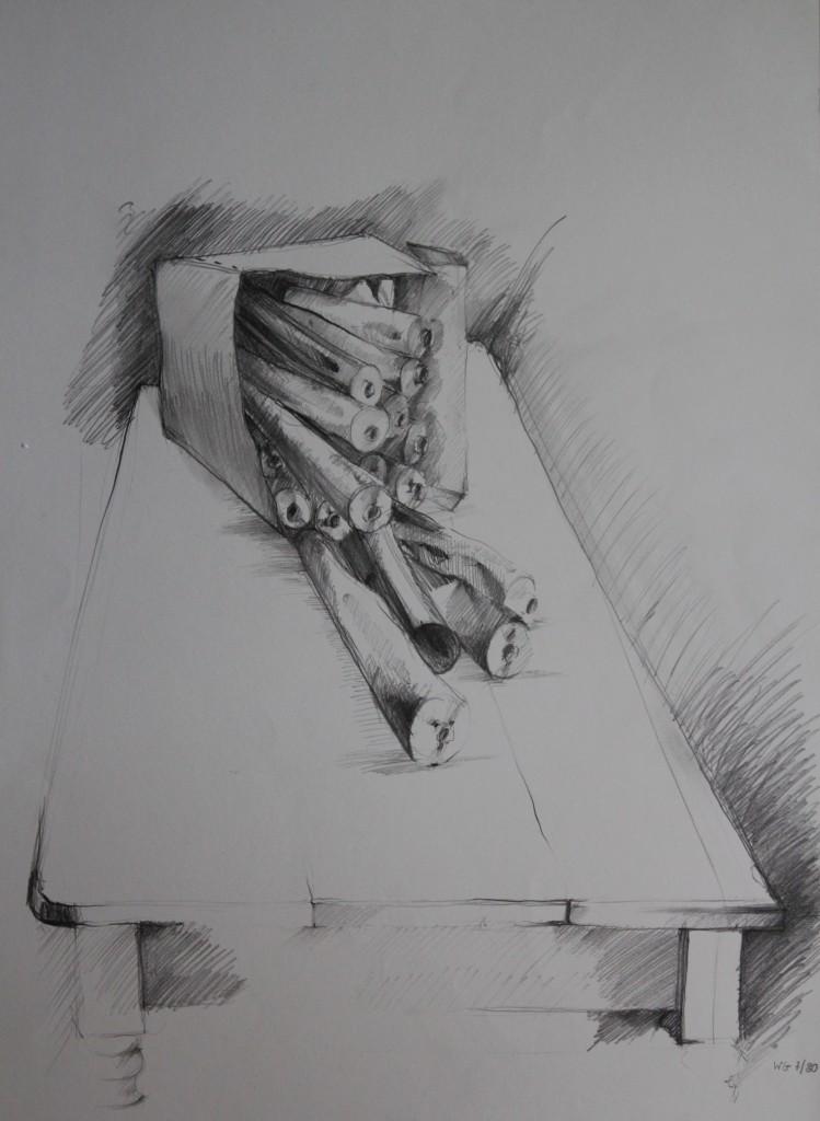 Tuben in Schachtel, Bleistift auf Papier, 1980, 42 x 56