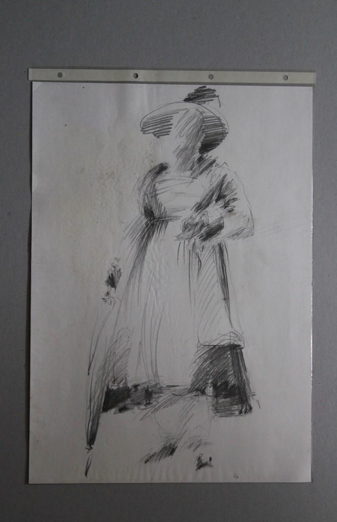 Tracht, Bleistift auf Papier, Anfang 80-er Jahre, 29,7 x 42