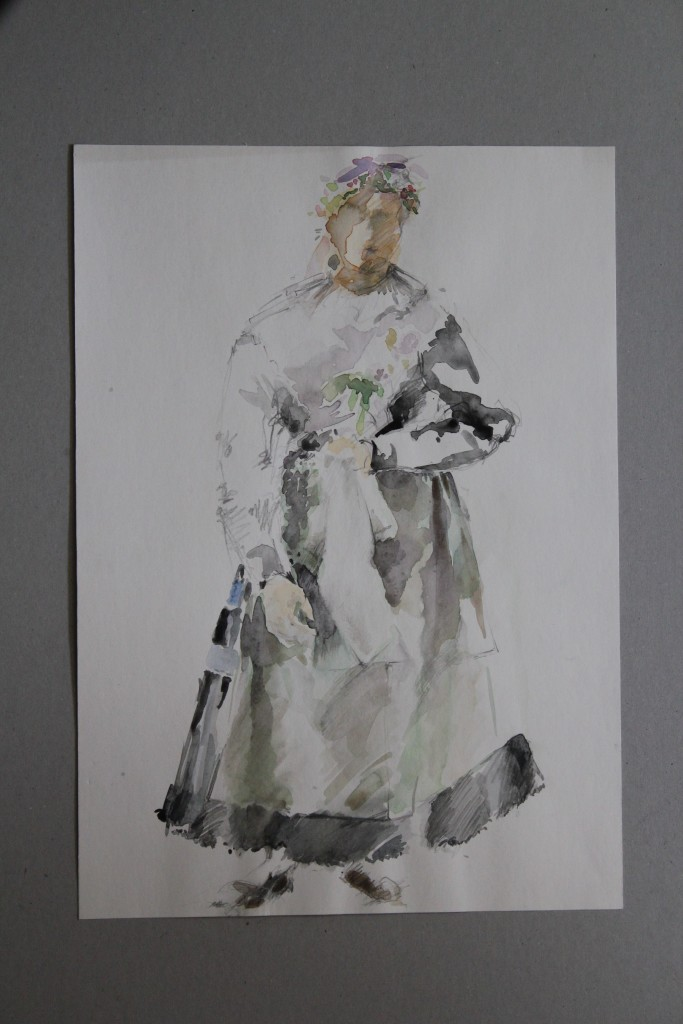 Tracht, Aquarell, Anfang 80-er Jahre, 29,5 x 41,5