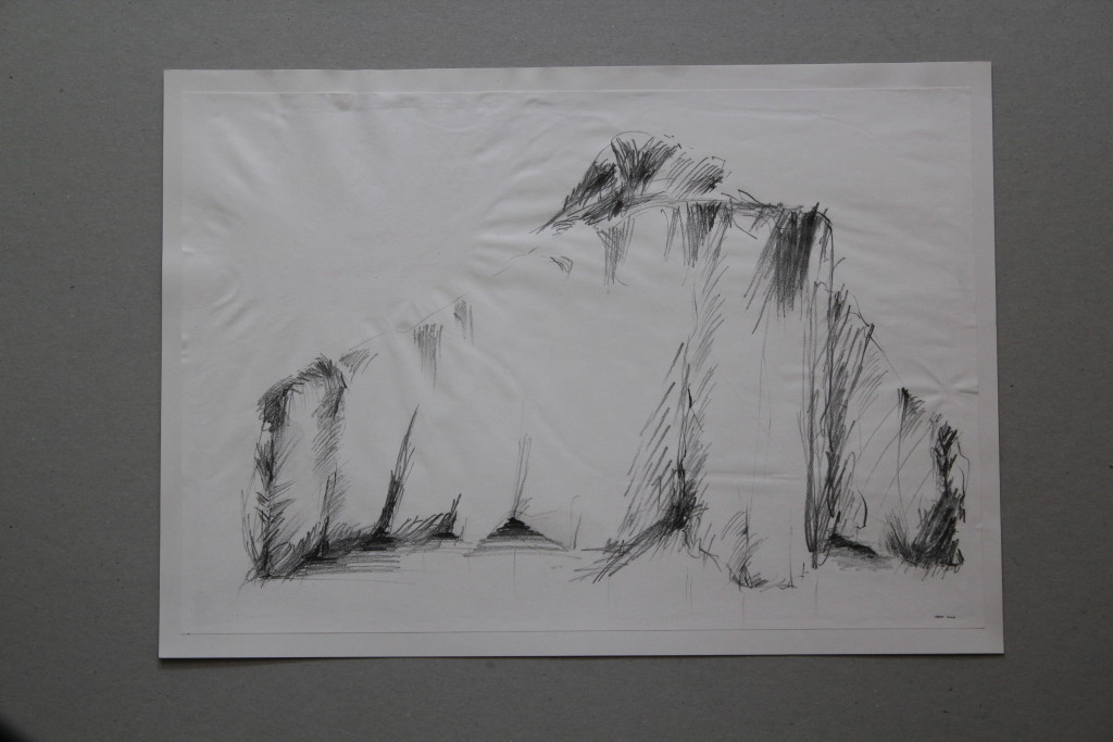 Stoffgebilde, Bleistift auf Papier, Anfang 80-er Jahre, 39,5 x 27,5