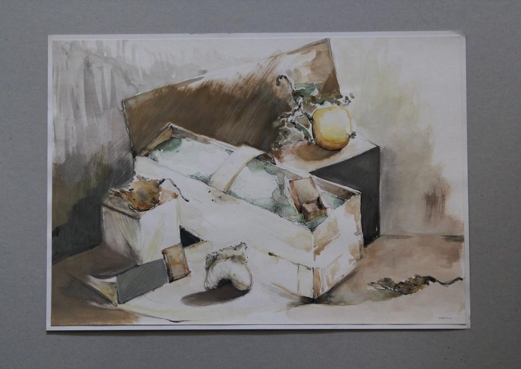Stillleben mit Spankorb, Feder/Tusche, Gouache auf Papier, Anfang 80-er Jahre, 41,5 x 28,5