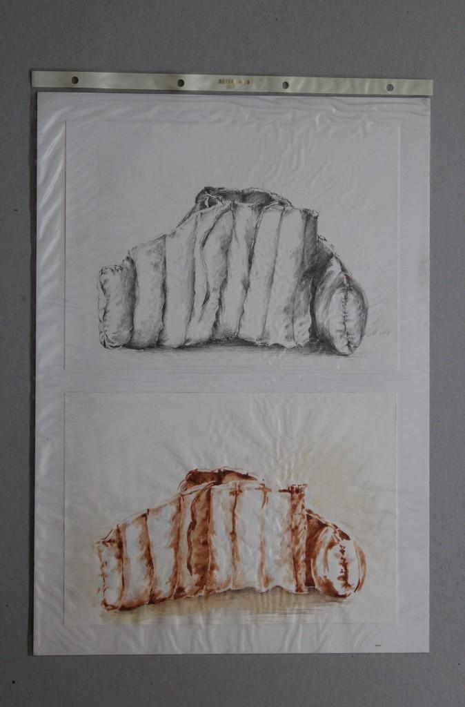 Studie Stoffgebilde, Bleistift, Sepia auf Papier, Anfang 80-er Jahre, 29,7 x 42