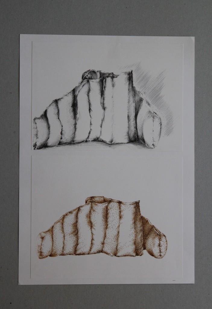 Studie Stoffgebilde, Bleistift, Tintenstift auf Papier, Anfang 80-er Jahre, 29,7 x 42
