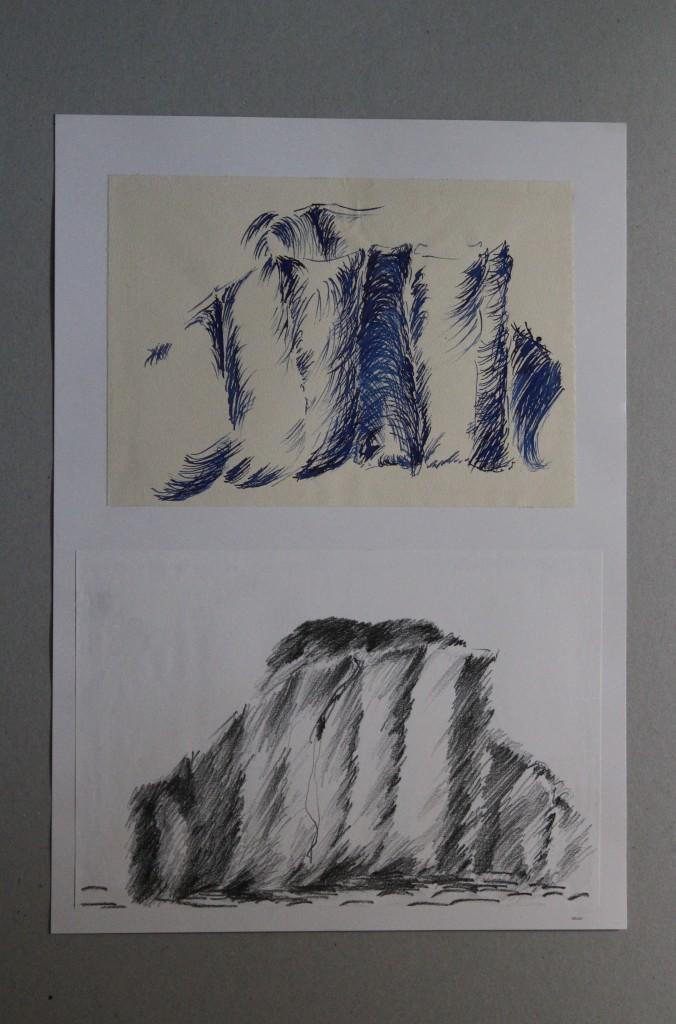 Studie Stoffgebilde, Bleistift, Tinte auf Papier, Anfang 80-er Jahre, 29,7 x 42