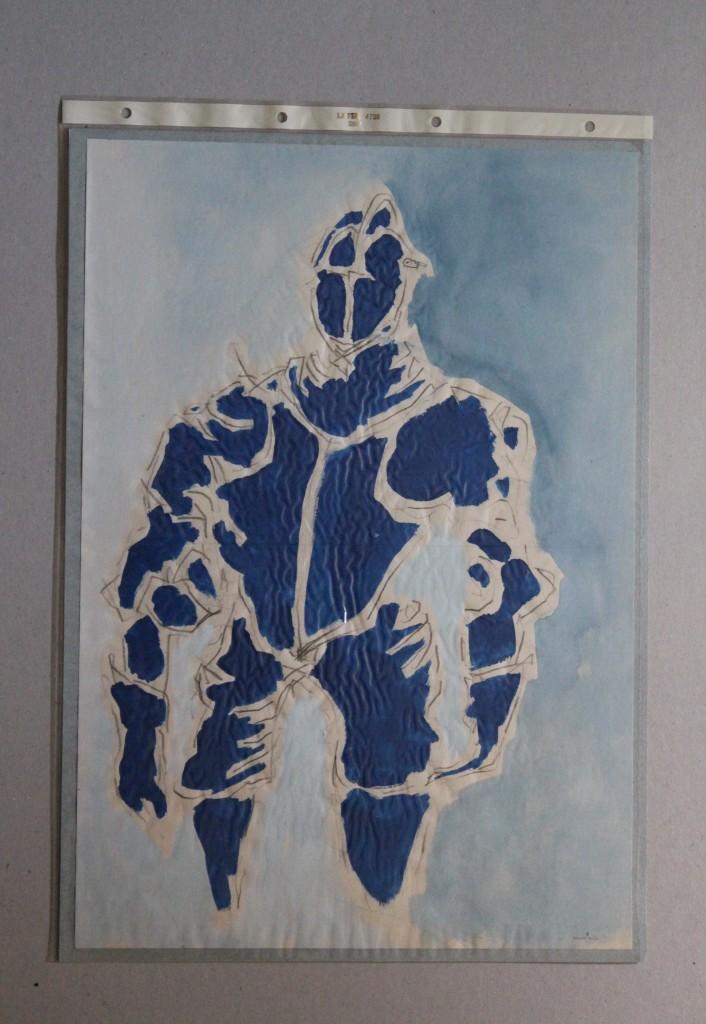Ritterrüstung, Bleistift, Gouache auf Papier, Anfang 80-er Jahre, 29,7 x 42