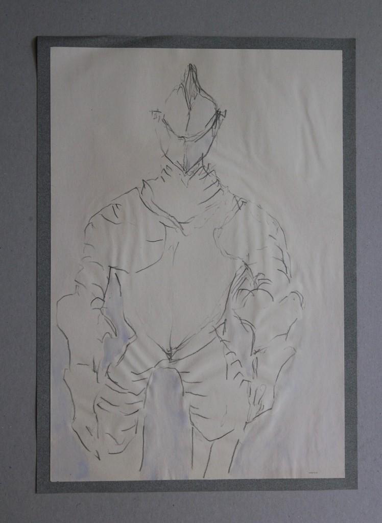 Ritter, Bleistift, Dispersion auf Papier, Anfang 80-er Jahre, 27,5 x 40