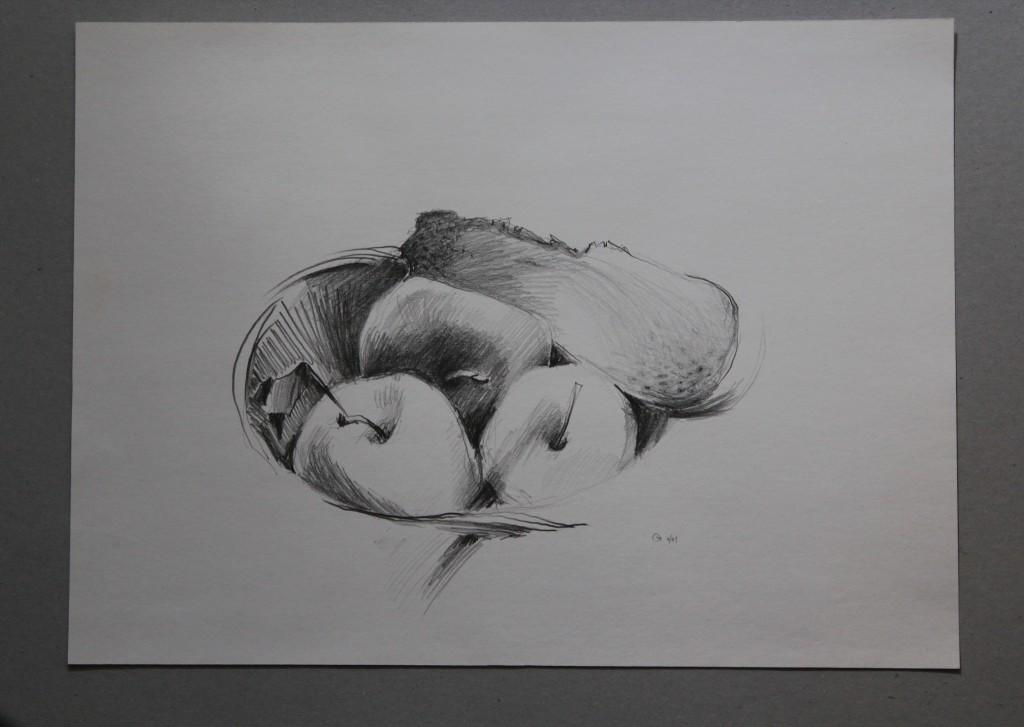 Stillleben mit Brot und Äpfeln, Bleistift auf Papier, 1981, 45 x 33