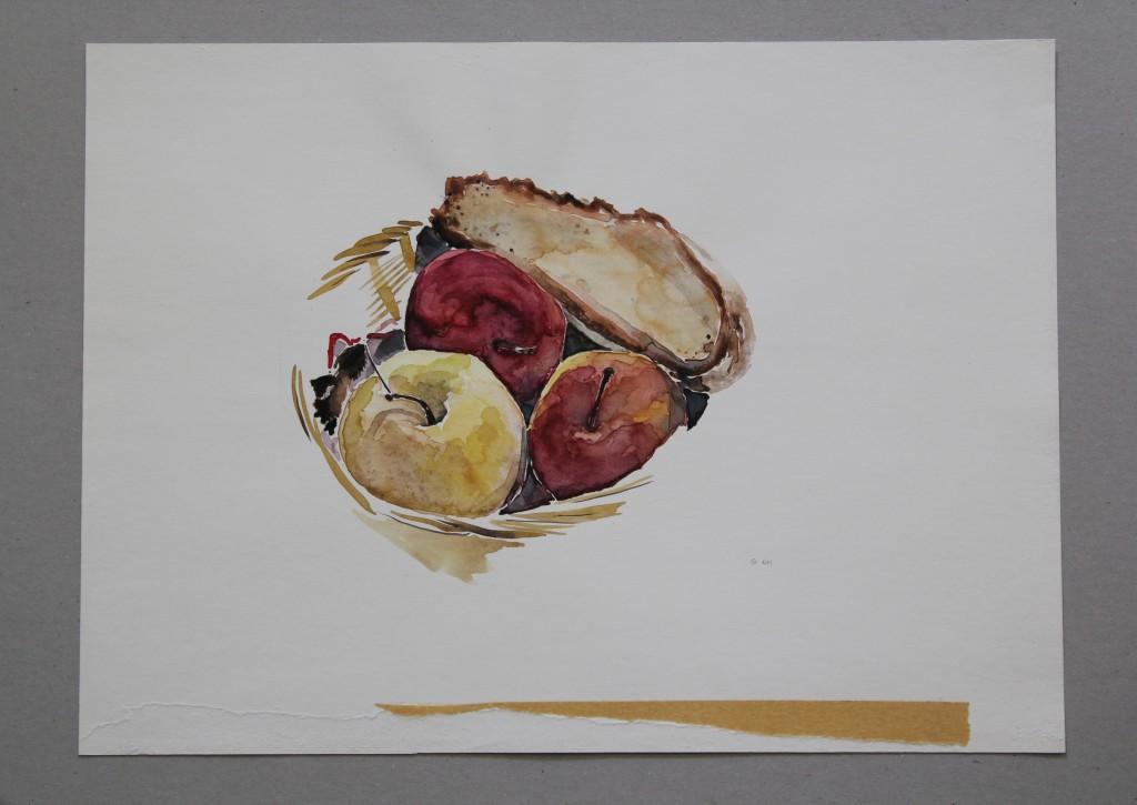 Stillleben mit Brot und Äpfeln, Aquarell, 1981, 44,5 x 33