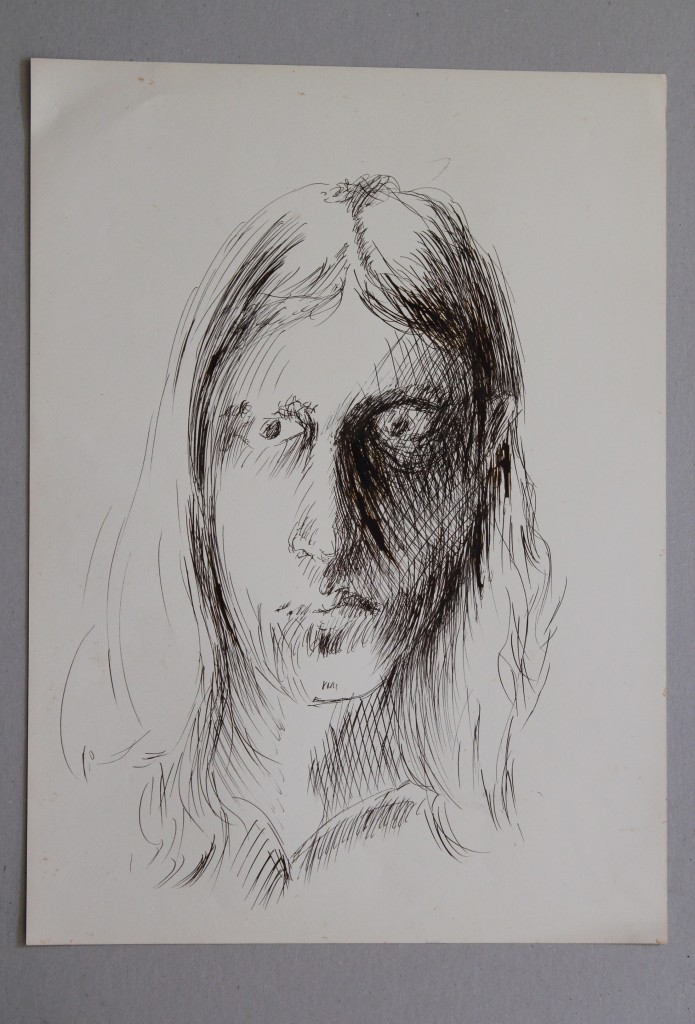 Selbst, Feder/Tinte auf Papier, Anfang 80-er Jahre, 33 x 45