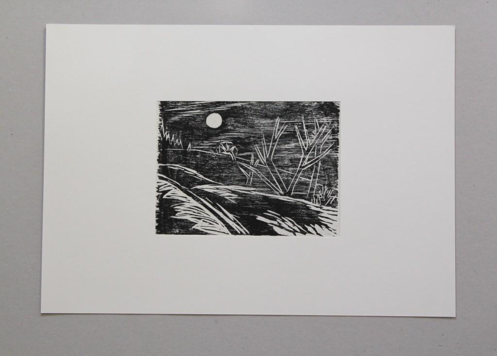 Landschaft (nach Fritz Berg), Holzschnitt, Anfang 80-er Jahre, 18,5 x 14