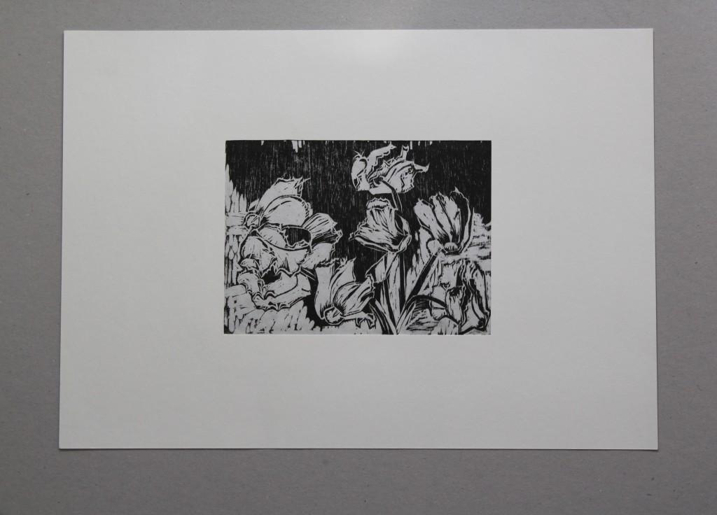 Alpenveilchen, Holzschnitt, Anfang 80-er Jahre, 19 x 14
