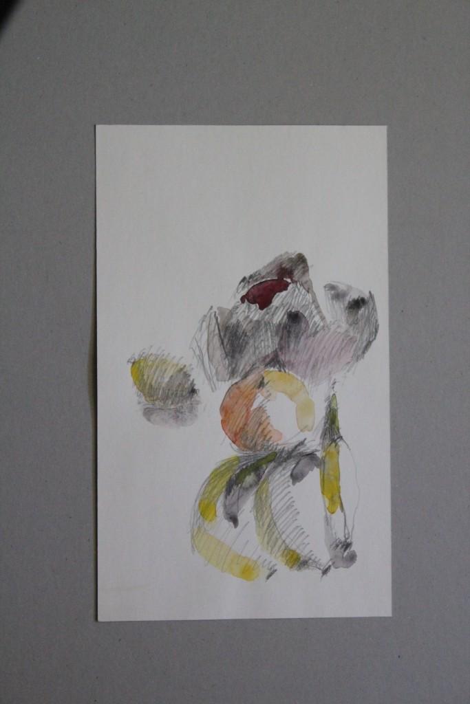 Früchte, Bleistift, Aquarell auf Papier, Anfang 80-er Jahre, 23 x 38,5