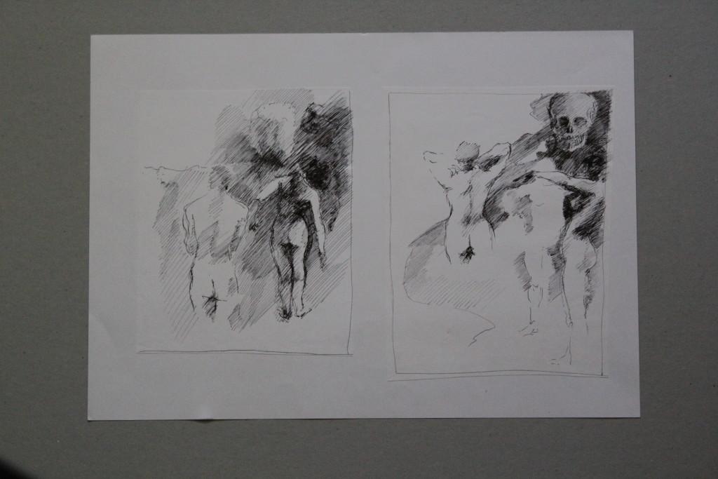 Skizzen - Akte, Feder/Tusche auf Papier, Anfang 80-er Jahre, 41,5 x 29,7