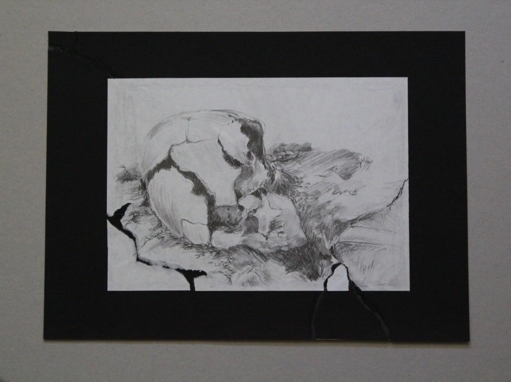 zerbrochener Schädel, Bleistift auf Papier, Anfang 80-er Jahre, 29 x 20,5