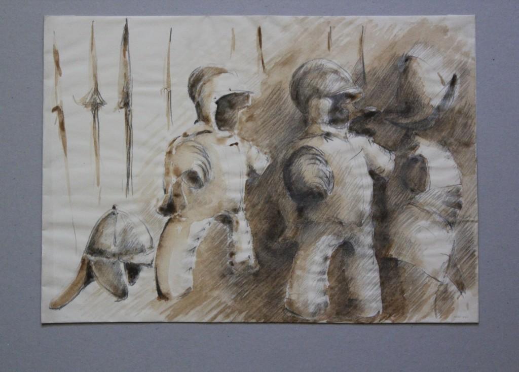 Ritterrüstungen, Bleistift, Sepia auf Papier, Anfang 80-er Jahre, 42 x 29,7