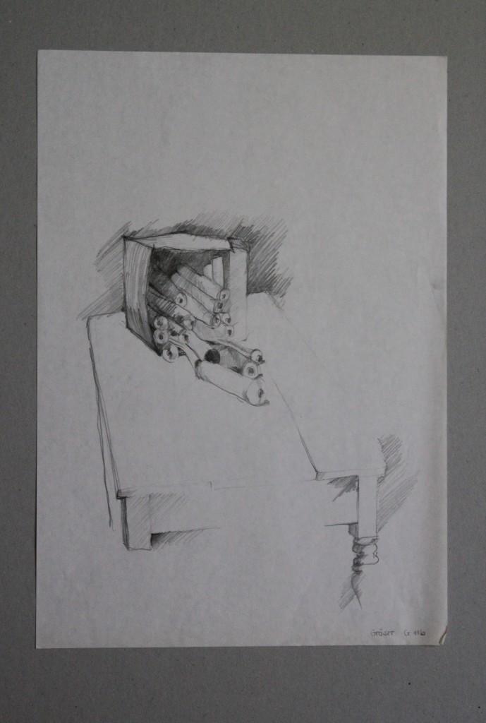 Schachtel mit Tuben auf Tisch, Bleistift auf Papier, Anfang 80-er Jahre, 29 x 42