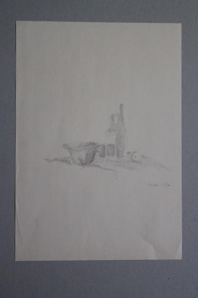 Stillleben, Bleistift auf Papier, Anfang 80-er Jahre, 29 x 42