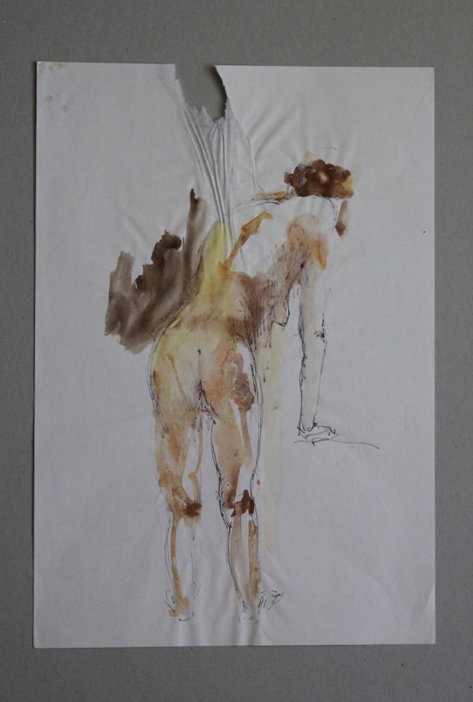 Rückenakt, Faserstift, Aquarell auf Papier, Anfang 80-er Jahre, 29 x 41,5