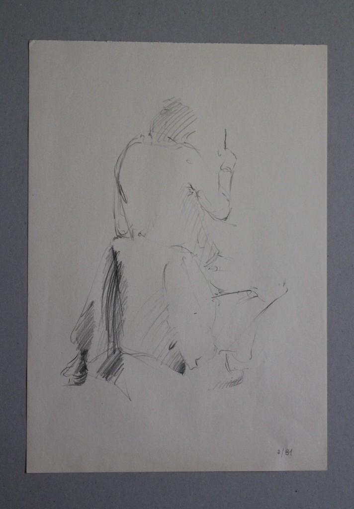 Skizze Figur sitzend, Bleistift auf Papier, 1981, 29,7 x 42