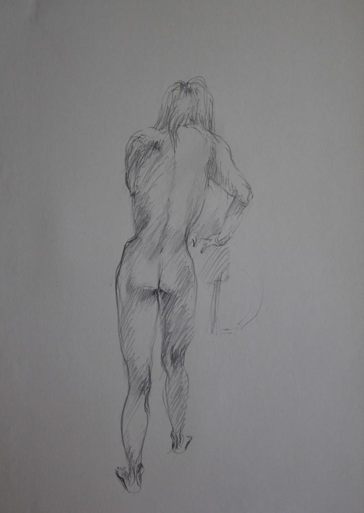 Rückenakt, Bleistift auf Papier, Anfang 80-er Jahre, 56 x 42