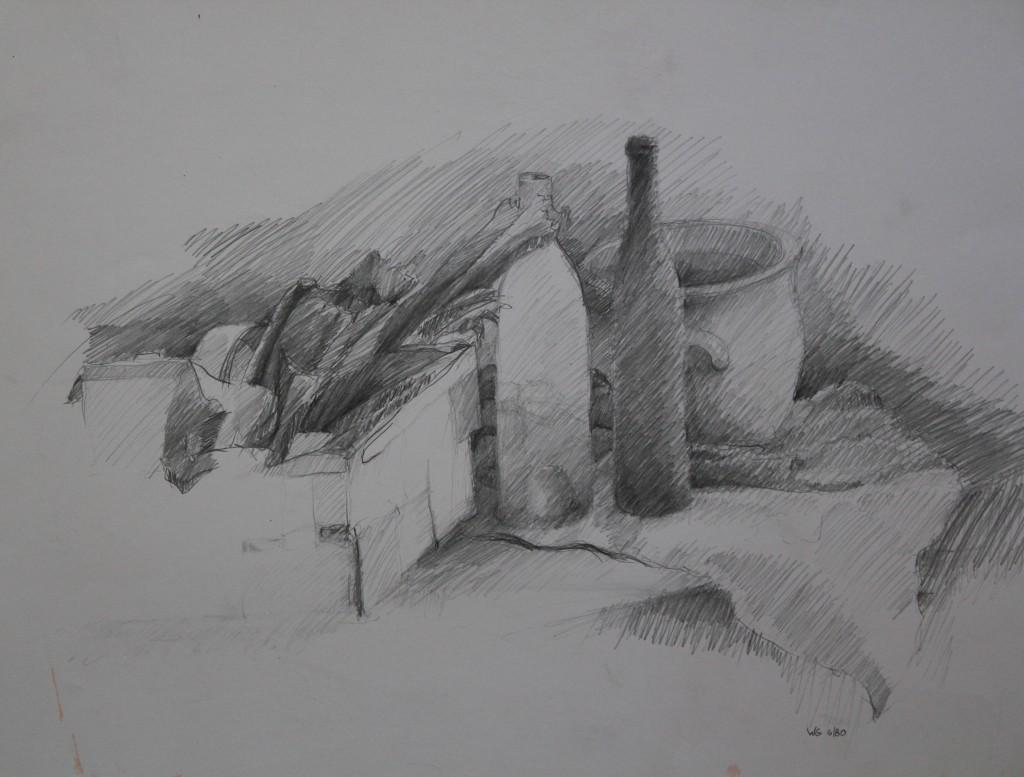 Stillleben mit Flaschen, Bleistift auf Papier, 1980, 55 x 42