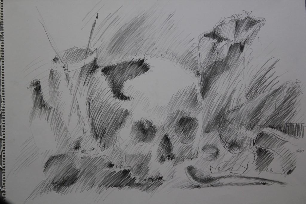 Schädel, Bleistift auf Papier, 1980, 55 x 42
