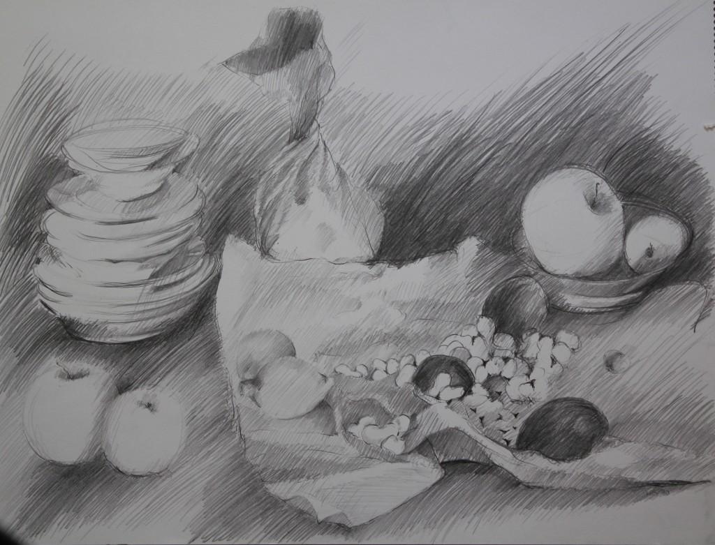 Stillleben mit Erdnüssen, Bleistift auf Papier, Anfang 80-er Jahre, 55,5 x 42