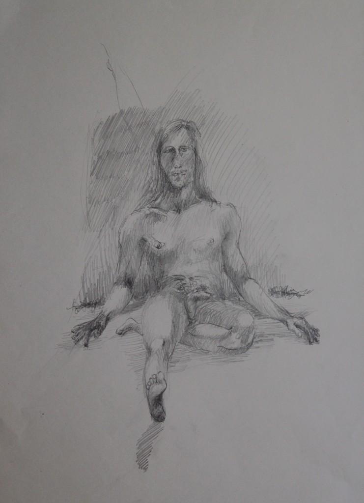 männlicher Akt, Bleistift auf Papier, Anfang 80-er Jahre, 36 x 47