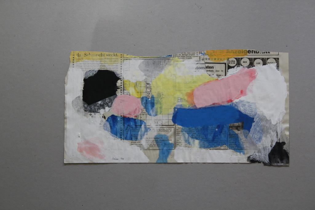 informelles Bild, Dispersion auf Zeitungspapier, 1986, 39 x 20