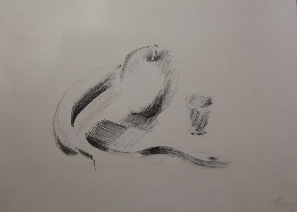 Stillleben mit Pinsel und Früchten, Bleistift, Dispersion auf Papier, 1986, 50 x 37