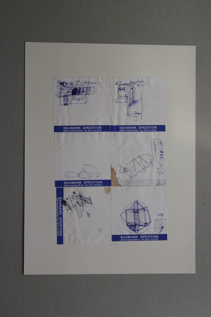 Skizzen, Kugelschreiber auf Notizblätter, 1986, 19,5 x 28,5