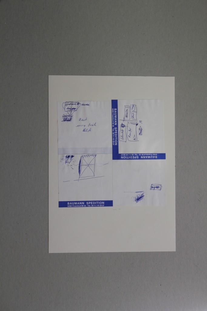 Skizzen, Kugelschreiber auf Notizblätter, 1986, 19,5 x 19,5
