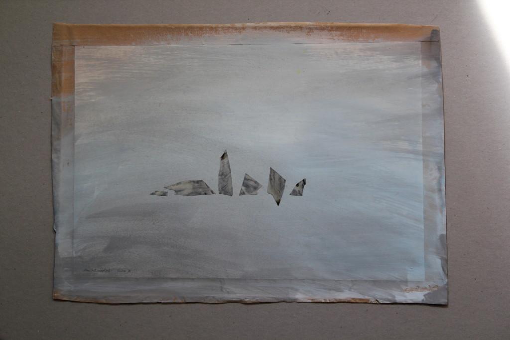 altes Indianerlied, Collage, Dispersion auf Papier, 1985, 43 x 31