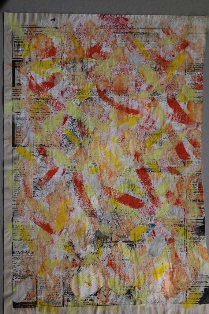 kleines Schneebild, Dispersion auf Zeitungspapier, 1986, 39 x 56,5