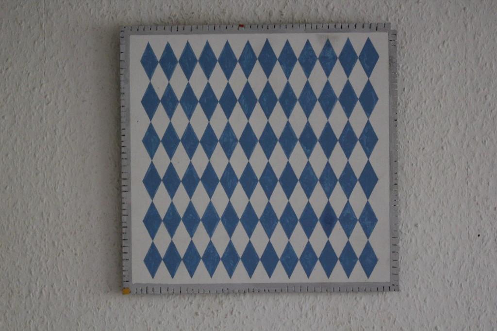 "WVZ 13-4-17, Acryl auf Sperrholz, ""Teppich - Glückes Herd - weiß und blau!"", 2017, 35 x 34"