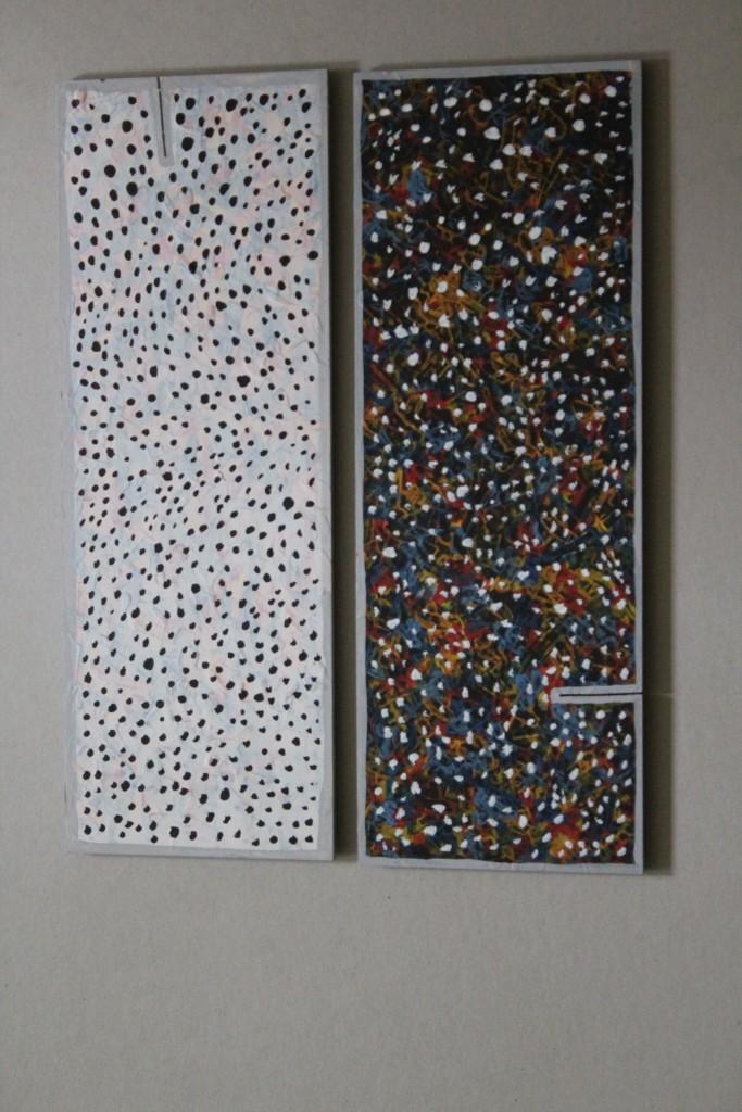"""WVZ 4-4-17, Acryl auf Presspappe, """"kleines Diptychon: linkslastig - rechtslastig (Schnee von gestern)"""", 2017, je 16 x 45, Zwischenschlag 1,5 cm"""