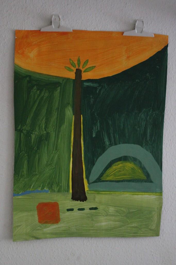 """WVZ 12-6-17, Acryl auf Papier, """"Der Baum des Wissens ist nicht der Baum des Lebens"""", 2017, ca. 58 x 79"""