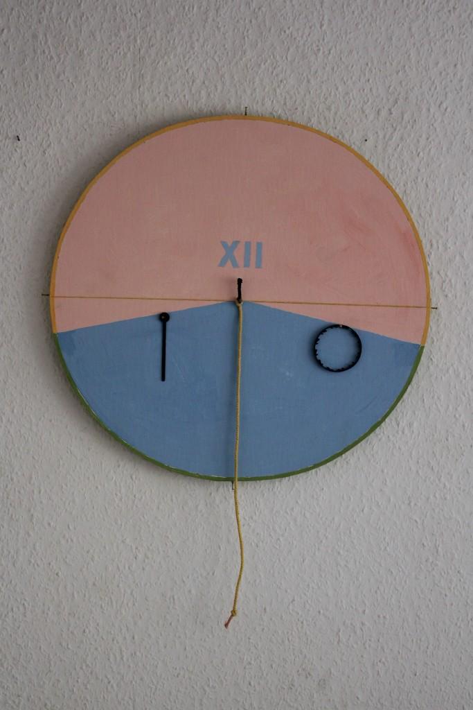 """WVZ 7-7-17, Acryl auf Sperrholz, Kordel, Nägel, Applikationen, """"Die Entschleunigung der Zeit (Die Zeit ist eine Uhr ohne Zeiger - E.B.)"""", 2017, 46 x 44"""