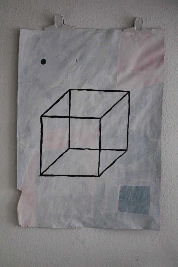 """WVZ 9-7-17, Acryl auf Papier, """"Eiswürfel basteln"""", 2017, ca. 59 x 82"""