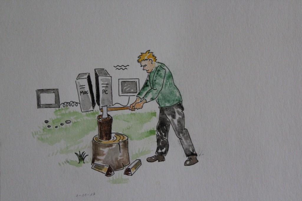 """WVZ 1-11-17, Zeichnung, Faserstift, Aquarell auf Papier, """"Der Fürsprecher (EDV)"""", 2017, ca. 24,5 x 21."""