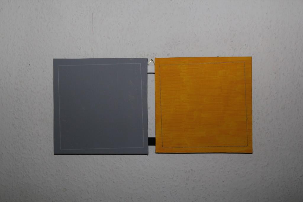 """WVZ 10-12-17, Acryl auf Sperrholz, zweiteilig, """"zweideutig - zwielichtig (Probleme im Quadrat)"""", 2017, 43,5 x 21"""