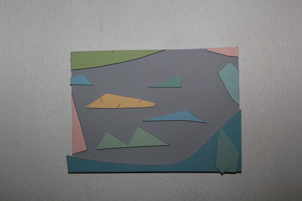 """VZ 14-12-17, Acryl auf Sperrholz, Relief, """"Landschaft aus Beton (Landschaft mit Beton)"""", 2017, 42 x 29"""