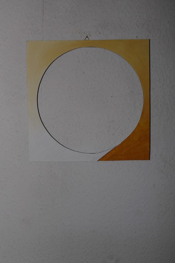 """WVZ 9-12-17, Acryl auf Sperrholz, """"mehr Licht (Mondschein/Sonnenblende)"""", 2017, 36 x 35"""
